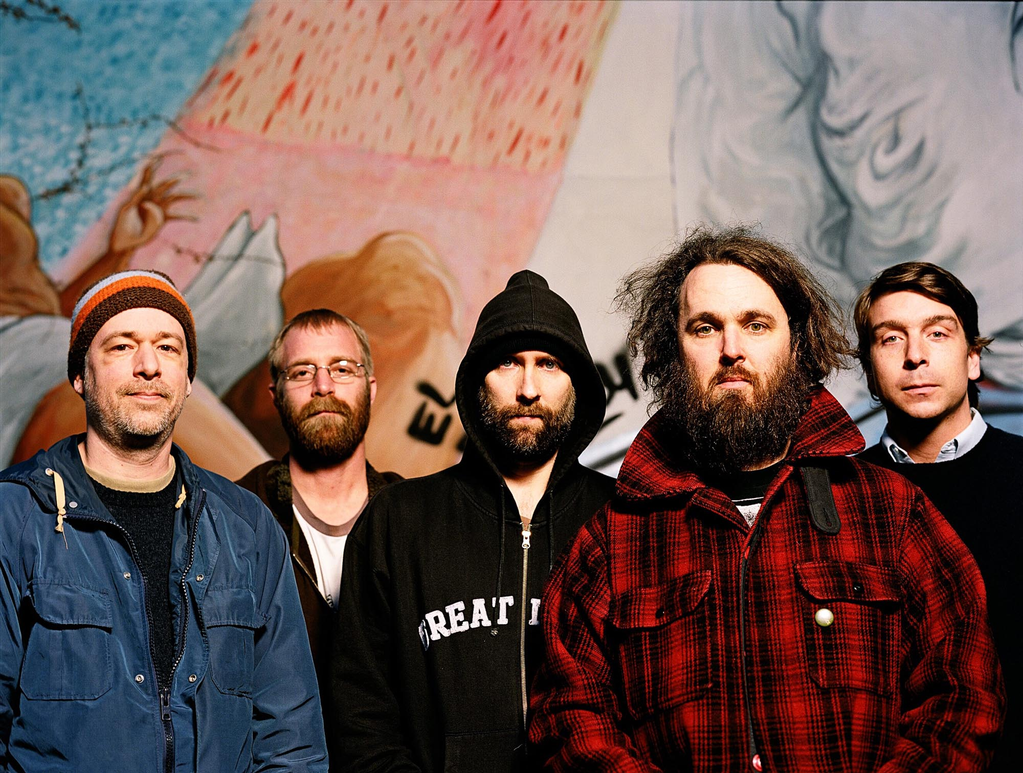 UNITED STATES - APRIL 10:  Photo of BUILT TO SPILL and Jim ROTH and Brett NELSON and Doug MARTSCH and Brett NETSON and Scott PLOUF; Posed studio group portrait L-R Jim Roth, Brett Nelson, Doug Martsch, Brett Netson and Scott Plouf  (Photo by Wendy Redfern/Redferns)